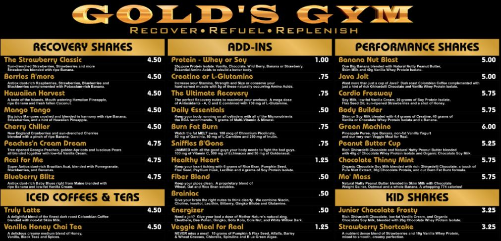 Gods Gym Shakes and Drinks Prices