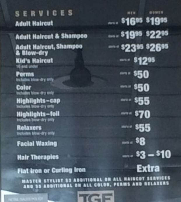 TGF Hair Salon Prices