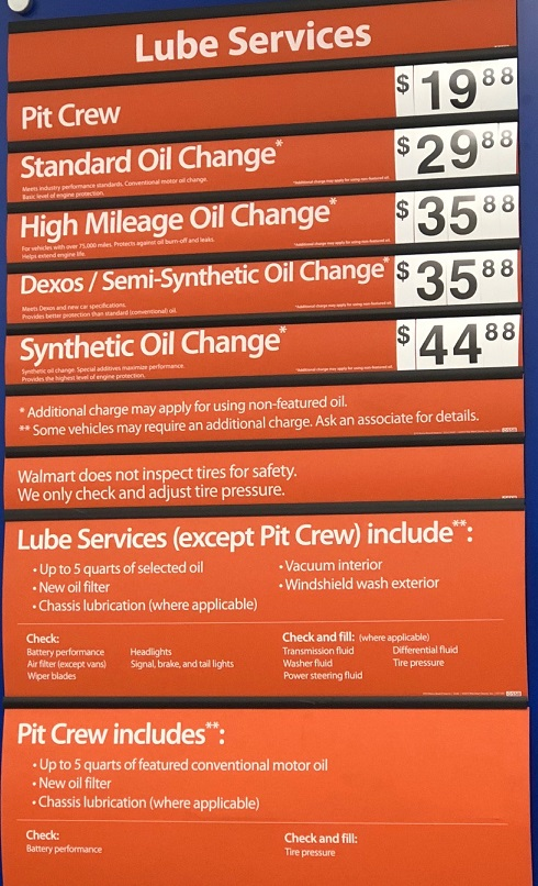 Walmart Lube and Oil Change Prices