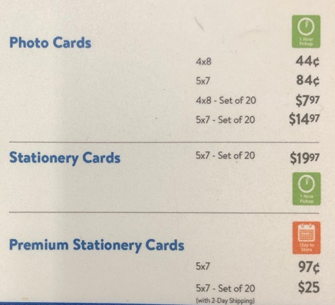 Walmart Photo Cards Prices